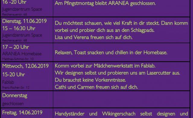 WOCHENPROGRAMM 10.-16. Juni 2019